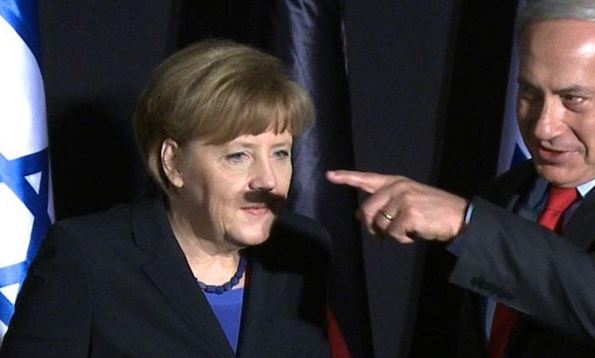 Hitlerowskie wąsy Merkel w Izraelu!