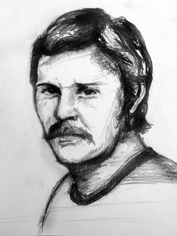 Davorin Popović na crtežu Igora Sandića