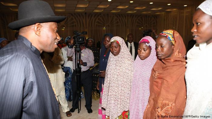 President Goodluck Jonathan met with some of the girls that escaped in July 2014 [Wole Emmanuel/AFP/Getty]