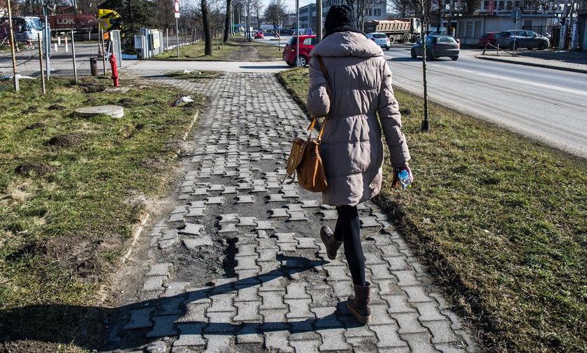Zniszczony chodnik