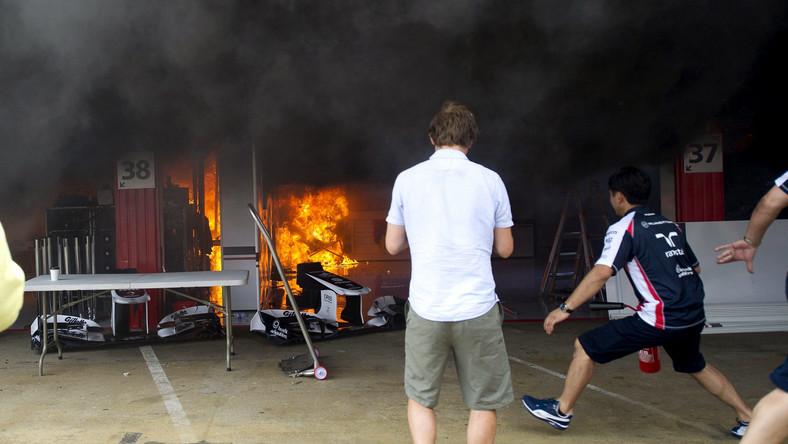Do potężnego pożaru doszło w garażu zespołu Williams po zakończeniu wyścigu o GP Hiszpanii