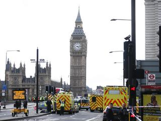 Emergency services respond after an incident on Westminster Bridge in London