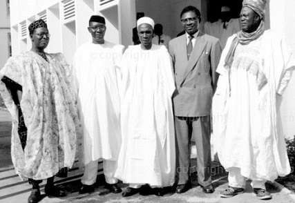 From L to R; Obafemi Awolowo, Nnamdi Azikwe, Tafawa Balewa on Independence day (Credit - Buzz Nigeria)