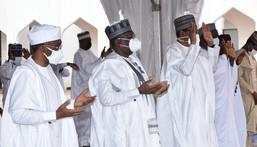 L-R: Speaker, House of Representatives, Femi Gbajabiamila; Senate President, Ahmad Lawan; and President Muhammadu Buhari [Presidency]