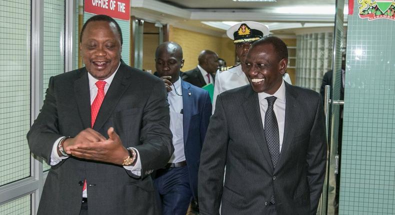 President Uhuru Kenyatta and Deputy President William Ruto during the lunhctime meeting (Twitter)