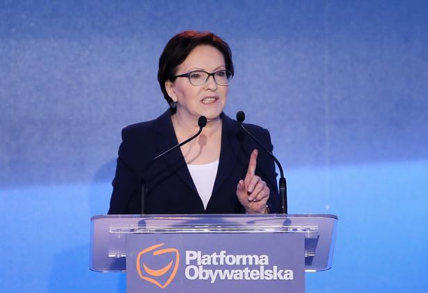 Wiceprzewodnicząca partii Ewa Kopacz podczas posiedzenia Rady Krajowej Platformy Obywatelskiej