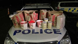 Bags of KFC chicken, french fries, and coleslaw were found in the car's trunk.