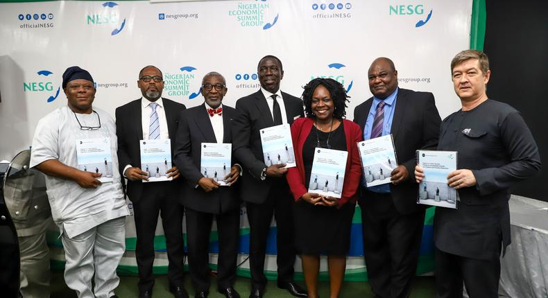L-R: Mr. 'Laoye Jaiyeola; CEO NESG, Mr. Ed Ubong; Managing Director; Shell, Mr. Folusho Phillips; Chairman Phillips Consulting; NESG, Mr. Asue Ighodalo; Chairman; NESG, Ms. Eme Lore; Country Manager; IFC, Dr. Ayo Teriba; Economist, Mr. Andrew Nevin; Partner and Chief Economist; PwC at the official launch of the NESG 2020 Macroeconomic Outlook Report themed: Nigeria in the New Decade in Lagos.