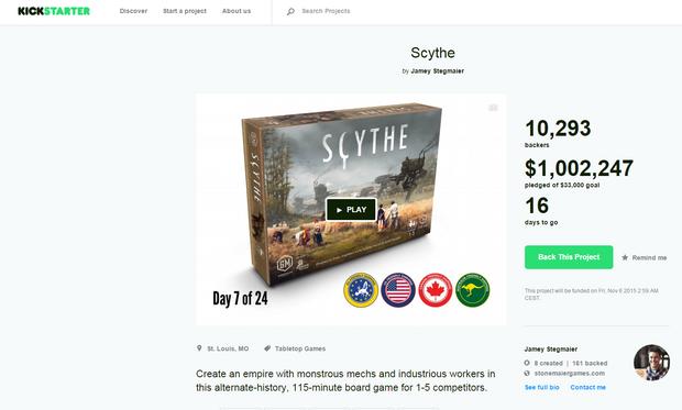 Scythe przekroczyła barierę miliona dolarów na Kickstarterze