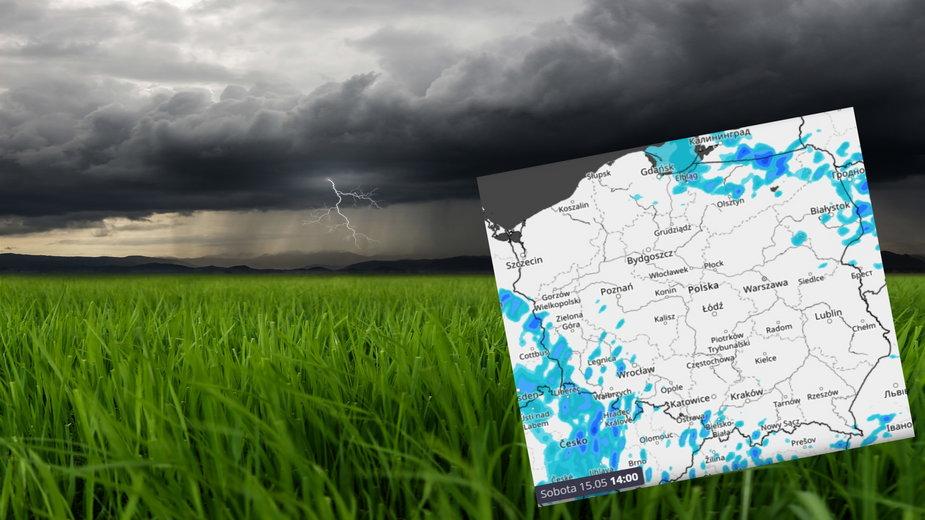 Prognoza pogody na sobotę 15 maja. Więcej przejaśnień, ale wciąż chmury i deszcz
