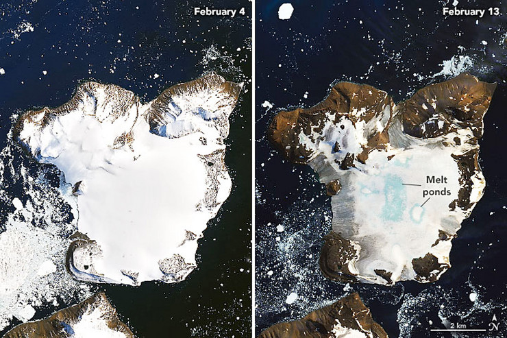 Topljenje leda na slikama datiranim 4. i 13.  februara