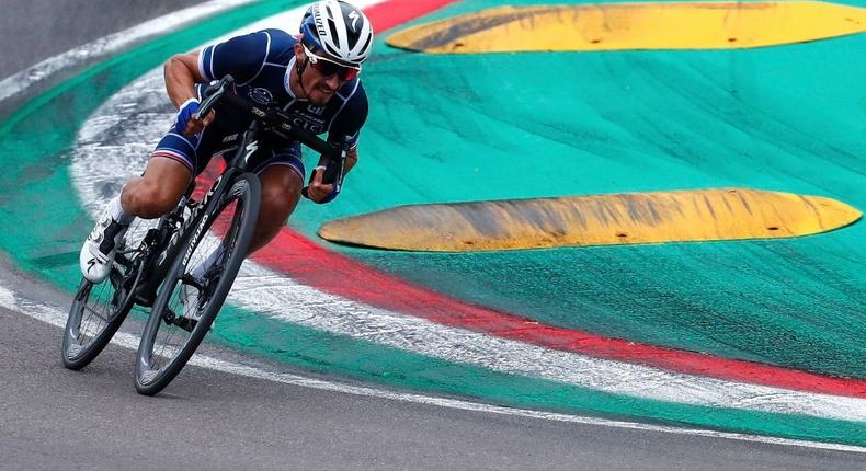 IMOLA, ITALY - SEPTEMBER 27: Julian Alaphilippe of France / Autodromo Enzo e Dino Ferrari / during the 93rd UCI Road World Championships 2020, Men Elite Road Race a 258,2km race from Imola to Imola - Autodromo Enzo e Dino Ferrari / @Imola_Er2020 / #Imola2020 / on September 27, 2020 in Imola, Italy. (Photo by Bas Czerwinski/Getty Images)