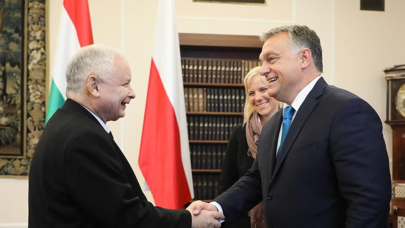 Prezes PiS Jarosław Kaczyński i premier Węgier Viktor Orban podczas spotkania w Sejmie w 2017 roku