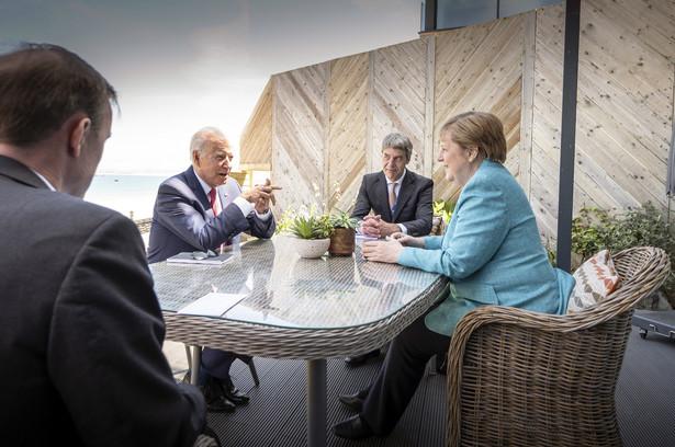 Angela Merkel i Joe Biden w St. Ives, Korwalia, Wielka Brytania. 12.06.2021