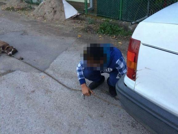 Maloletnik vezuje psa za automobil