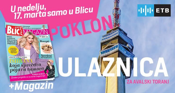 """Poklon ulaznica na Avalski toranj ove nedelje uz """"Blic"""""""