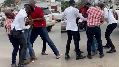 4 Ghana police officers struggle to arrest strong driver who allegedly beat them (videos)