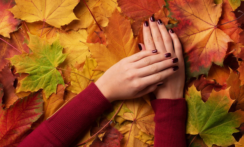 Female hand over autumn leaves background. Nail design concept.