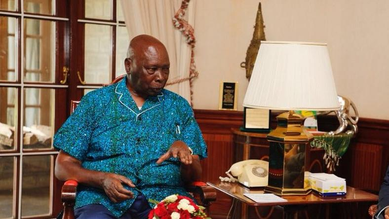Former President Daniel Arap Moi during a past meeting with Mombasa Governor Hassan Joho
