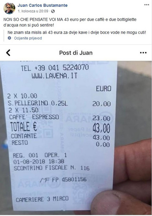 Dva espresa i dve vode 43 evra