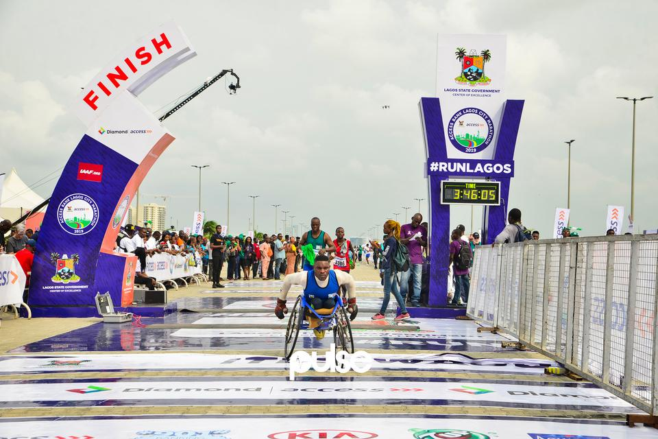 Physically challenged athlete gets to the finish line at Access Bank Lagos City Marathon 2019