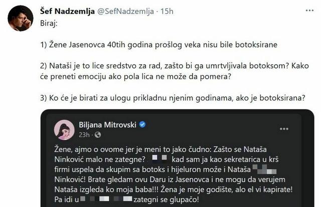 Tviter - objava o Nataši Ninković