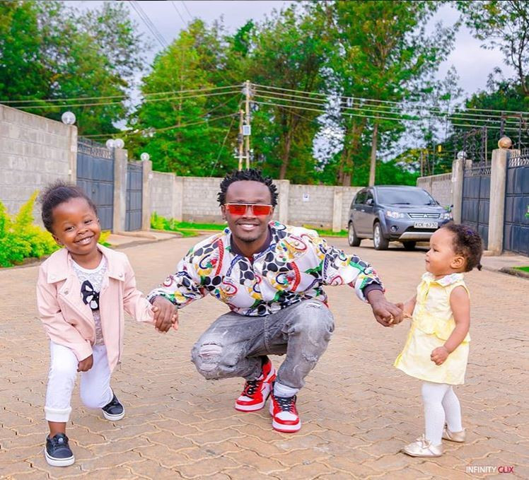 Bahati with his daughters. List of Kenyan celebrities with multiple Baby Mama's