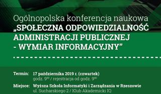 """Konferencja 'Społeczna odpowiedzialność administracji publicznej – wymiar informacyjny"""" już 17 października"""