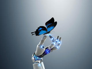 Robot hand holding butterfly