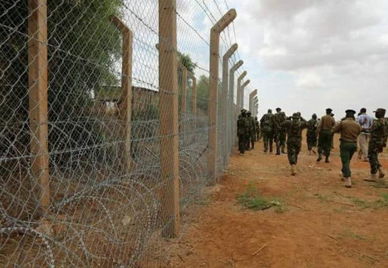 Security personnel patrolling the Kenya-Somalia border in Mandera's Point One area.