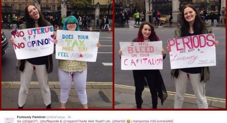Women menstruate on their white trousers without putting on a pad to campaign against tax [Graphic]