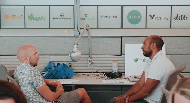 Mintrics CEO Tarek Nasr (R) with Matt Miller, Global Innovation Lead at Mastercard and a mentor at Blue Startups (L)