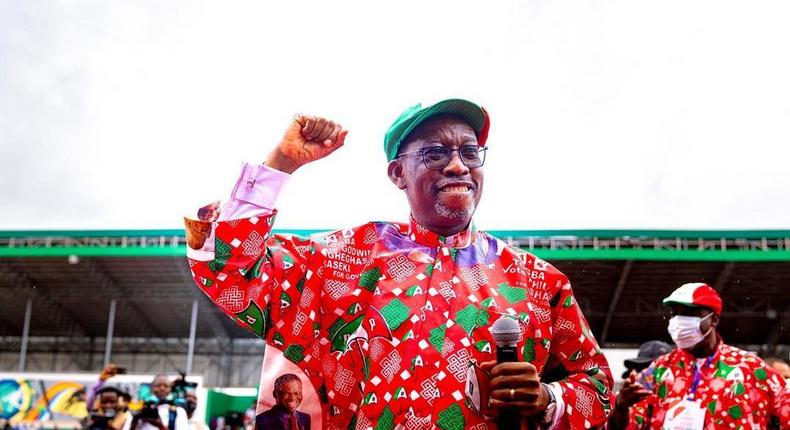 Gov Okowa of Delta State rallies support for Obaseki at the Samuel Ogbemudia stadium on Tuesday, September 15, 2020 (Delta State press corps)