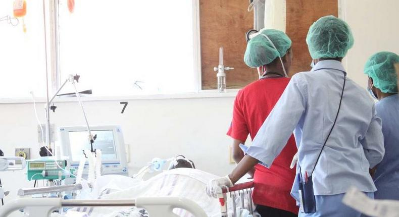 File image of nurses attending to a patient at a Kenyan hospital