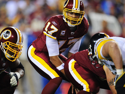Washington Redskins in all-burgundy during a 2008 game.