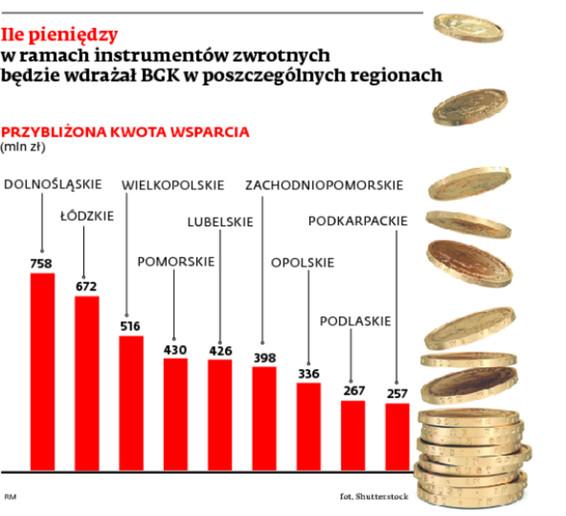Ile pieniędzy w ramach instrumentów zwrotnych będzie wdrażał BGK w poszczególnych regionach