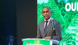Peter Ndegwa CEO Safaricom, speaking at a media showcase for the launch of the company's 5G service in Kenya, March 26, 2021.