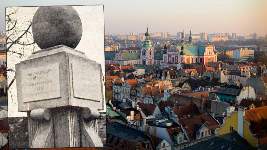 Poznań i archiwalne zdjęcie Pomnika Poległych Winiarczyków