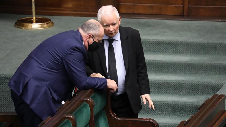 Wicepremier, prezes PiS Jarosław Kaczyński bez maseczki PAP/Tomasz Gzell