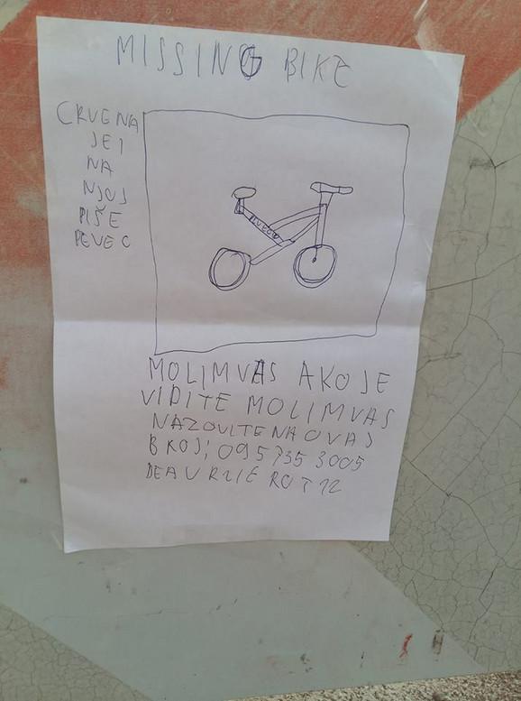 Dea je zamolila sugrađane da je obaveste ukoliko vide bicikl