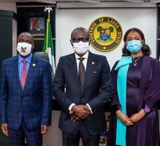 L-R: Lagos State Deputy Governor, Dr Obafemi Hamzat; Governor Babajide Sanwo-Olu; Chairman of the Governing Council, Office of the Public Defender (OPD), Mrs Bola Tinubu, during the inauguration of the OPD governing council at Lagos House, Alausa, Ikeja, on Tuesday, August 18, 2020 [NAN]