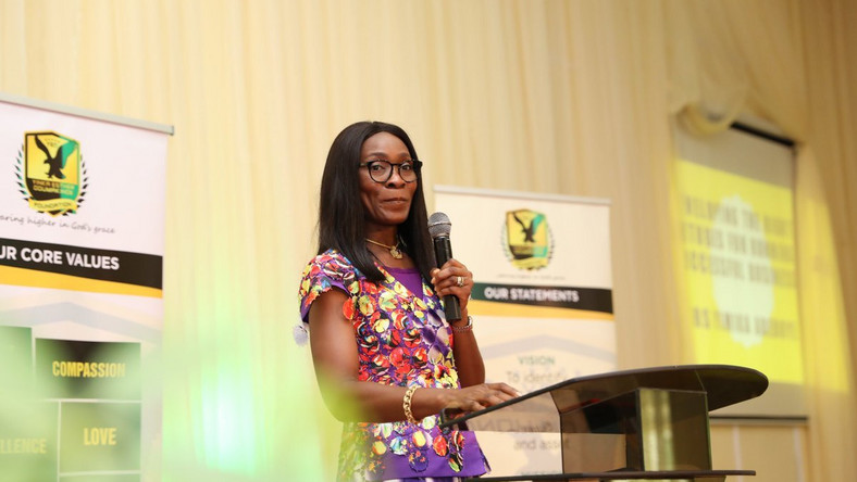 Mrs Oyeyimika Adeboye speaking on developing the right attitudes for running a successful business at a YEO Foundation event in 2018 (Twitter/YEOFoundation)