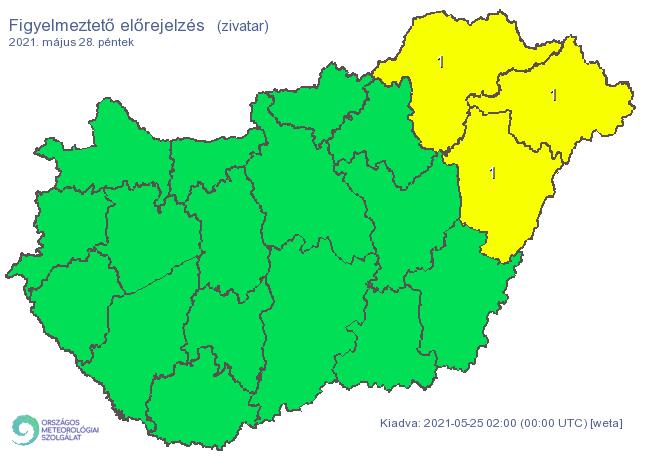 Péntekre is három megyére adtak ki riasztást a zivatar miatt / Fotó: met.hu