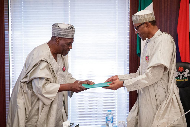 President Muhammadu Buhari receives the report of the Presidential Review Panel on National Intelligence Agency (NIA) from former Minister of Foreign Affairs, Ambassador Babagana Kingibe at the Presidential Villa on Tuesday, December 19, 2017 (Presidency)