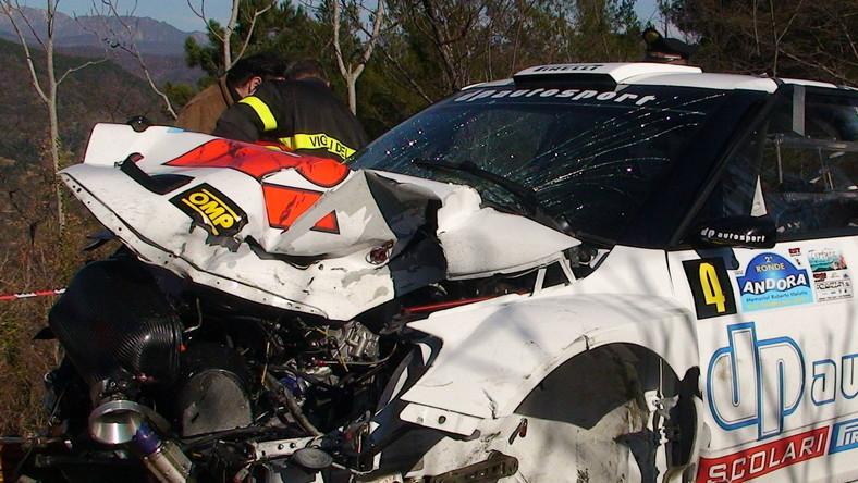 Auto Roberta Kubicy po wypadku