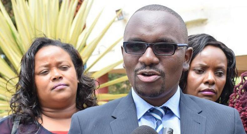Majority Leader of Nyeri County Assembly Duncan Gituanja addresses journalists on March 2, 2017. He said his colleagues will not attend the burial of Nderitu Gachagua over security concerns.