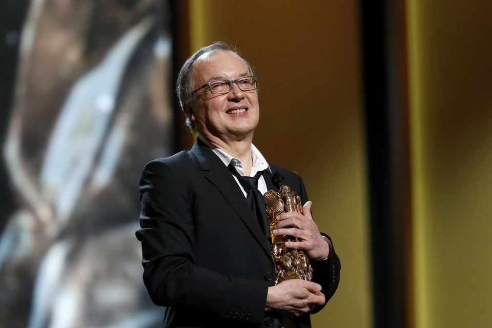 "Director Philippe Faucon reacts after receiving the Best Film Award for his film ""Fatima"" at the 41st Cesar Awards ceremony in Paris"