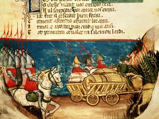 The Army of Charlemagne (742-814) and the Transportation of Provisions, from a Venetian Codex (vellu