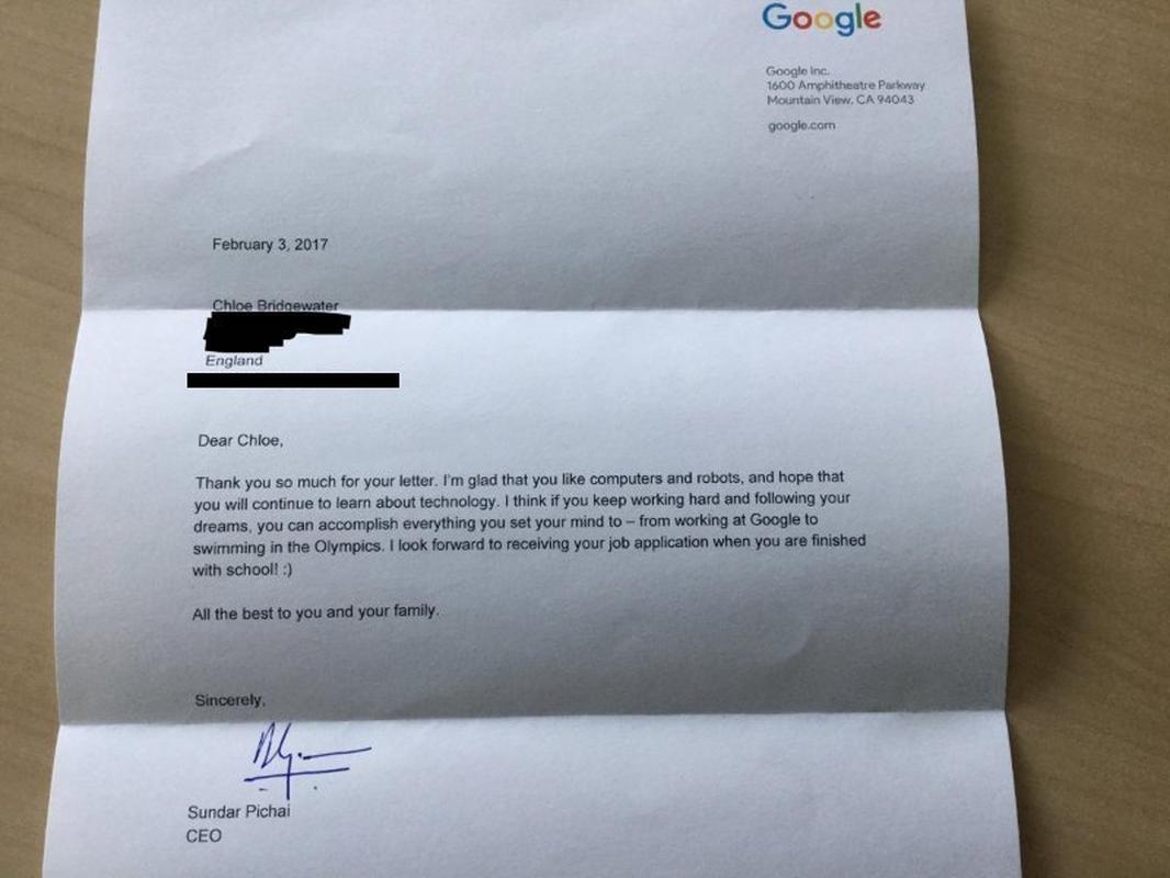 Odpowiedź prezesa Google Sundara Pichaia na list Chloe Bridgewater