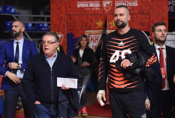 Nebojša Čović i Milan Gurović na mneču KK Crvena zvezda - KK Himki